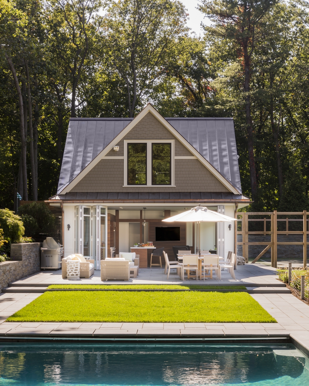 hilltop gambrel pool house lda architecture and interiors