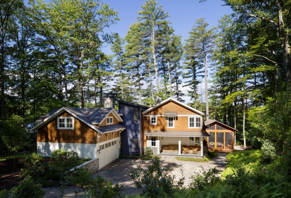 Front Elevation Porch : Camp squam lake lda architecture and interiors